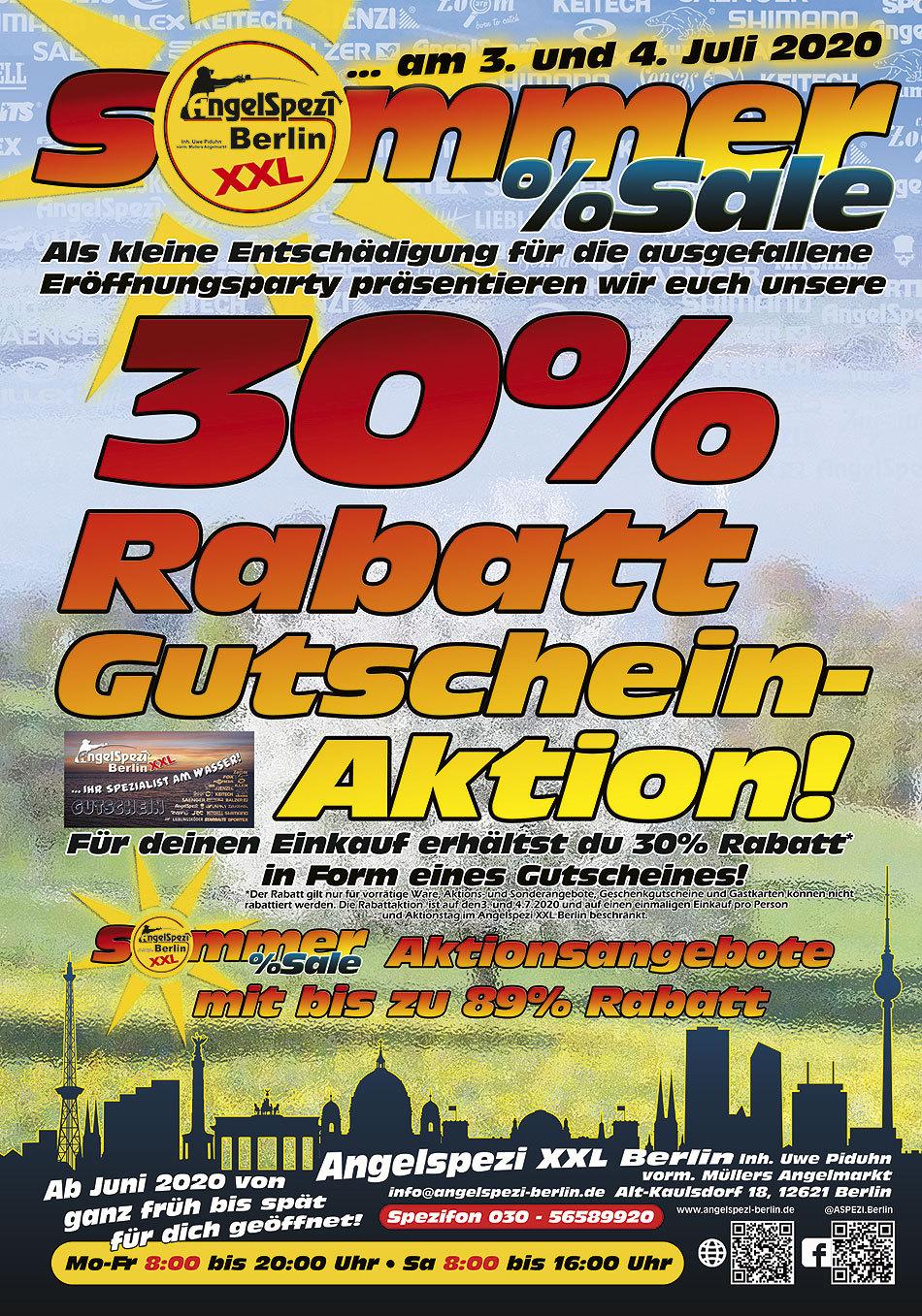 Sommer-Sale im Angelspezi XXL Berlin am 3.und 4. Juli 2020