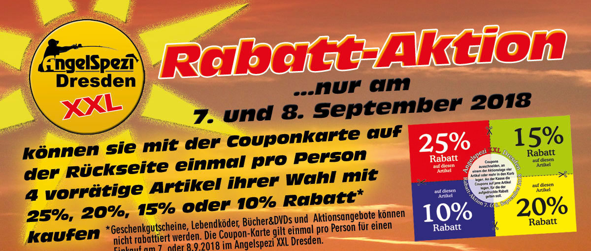 Rabatt-Coupon-Aktion im Angelspezi Dresden XXL